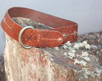 """Artistically Embellished Fossil Belt """"Wrapped in Love"""" Theme"""