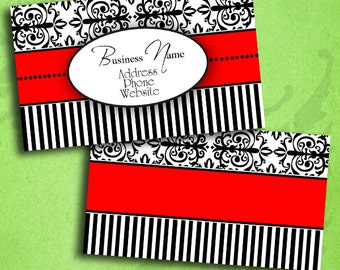 Elegant Red Black & White Damask Business Card Template Digital INSTANT DOWNLOAD 3.5 x 2 Inches Calling Card (BC20)