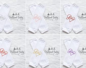 Love Leg Warmers-Valentines Leg Warmers-Heart Leg Warmers- Love Leg Warmers- Baby Leg Warmers-White Baby Leg Warmers