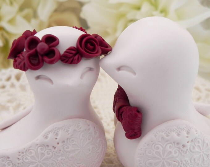 Personalized Ivory and Burgundy Love Birds Wedding Cake Topper Bride and Groom Keepsake, Fully Custom