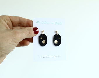 leather earrings / Navy Blue constellation