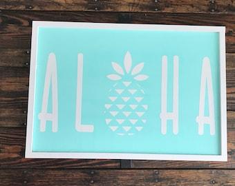 Aloha sign/pineapple/aloha/outdoor/home/living room/entry/housewarming/beach/military/moving/welcome