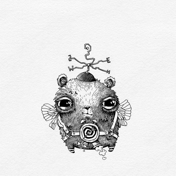 Line Drawing Steampunk Art Black and White Art Cute
