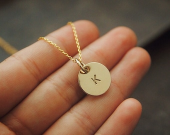 Personalized Gold Disc Necklace, Gold Initial Necklace, 14K Gold Filled Necklace, Bridesmaid Gift, Initial Jewelry
