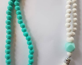 Teal and White Tassel Necklace