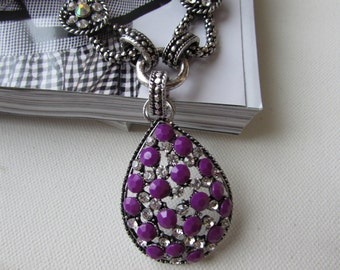 Oval Pendant, Embellished Pendant, Oval Necklace, Geometric Necklace