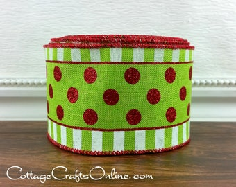 "Christmas Wired Ribbon, 2 1/2"", Red Glitter Polka Dots on Lime Green, Stripes  - TEN YARD ROLL -  ""Dots in a Line Green"" Wire Edged Ribbon"