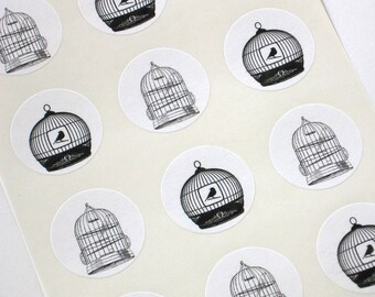 Bird Cage Stickers One Inch Round Seals