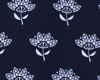 SALE! Cotton Fabric by the yard - Modern quilt fabric - Cotton and Steel Fabric - Cornflower - Fat Quarter - Navy floral fabric