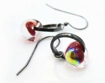 Red Glass Earrings. Gunmetal Earrings. Lampwork Earrings. Red Drop Earrings. Red Dangle Earrings. Scarlet Earrings - CHERRY JUBILEE