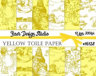 Toile Digital Paper, Yellow Digital Paper, Digital Paper Baby, Yellow Toile Digital Paper, Nursery Rhyme Paper, Heritage Digital Paper 16128