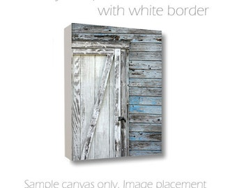 Door Photography-Nautical Wall Art-Shabby Cottage Art-Chippy Paint-Gray Photo Canvas-Pale Blue-White-Wall Canvas-Beach Art-Weathered Wood