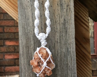 Aragonite Cluster White Hemp Necklace