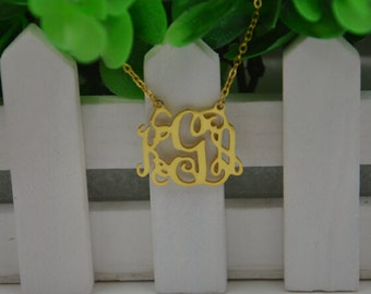 "Handmade monogrammed necklace,Personalized monogram jewelry-1""silver monogram necklace plated gold"