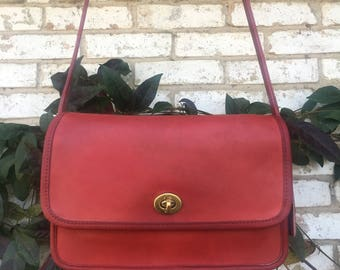 "Coach ""Compartment Bag"" Style #9850 Red Leather"