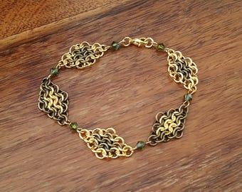 Bronze and Gold Tone European Chainmaille Swarovski Crystal Bracelet