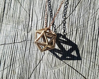Icosahedron Platonic Solid Bronze Pendant with Chain