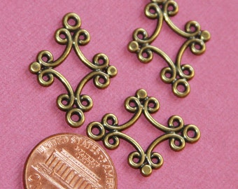 20 pcs of antique brass fancy diamond links 24x18mm