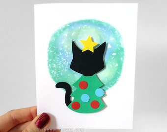 Christmas Tree Card, Black Cat Card, Pet Owner Gift, Blank Card, Paper Cut Card, Happy Holidays, Xmas Card