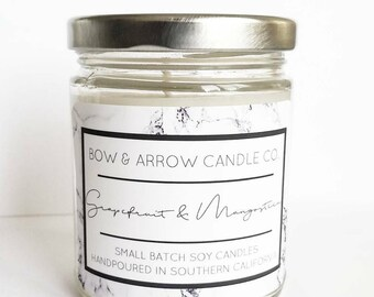 Natural Soy Candle Grapefruit Scented | 7 oz Jar Candle | Grapefruit Candle | Citrus Candle | Scented Soy Candle