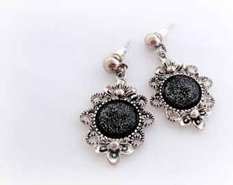 Black glitter earrings, dark romantic gothic jewelry, gift for her