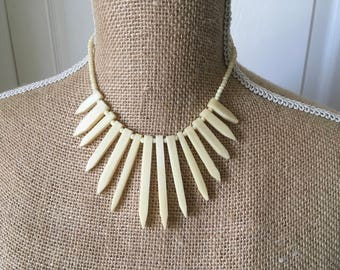 Bovine statement bib necklace