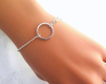 Karma bracelet, Yoga silver bracelet, Meditation bracelet, Wish bracelet, Eternity bracelet, Circle bracelet, Yoga gifts, Gifts for her