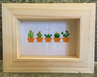 Cross Stitched Potted Succulents