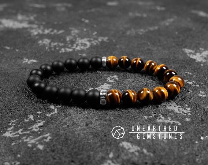 Paragon Collection   Tigers Eye + Matte Onyx Bracelet
