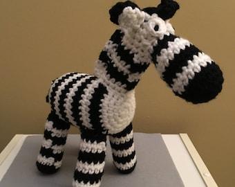Made to Order: Crochet Amigurumi Black and White Zebra Plush