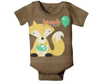 Fox Bodysuit, Personalized One Piece Outfit, Custom Baby Boy Clothing, Onepiece