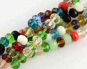 1 Strand Mixed Color 8x6mm Faceted Glass Rondelle Beads   (B466q)