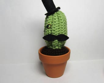 Crochet Cactus with Top hat and Mustache - The Gentleman's Cactus - Amigurumi Cactus - Crochet Plant - Handmade Plushie - Plush Plant