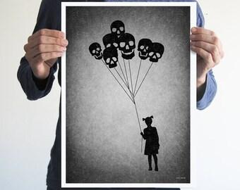 Skull balloons,digital print,artwork,art,wall decor,skulls,silhouette,black and white,gothic art,skeletons,victorian,horror,poster,print,