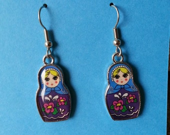 Nesting Doll Charm Dangle Earrings - Flat Rate Shipping in the US!