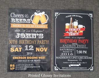 30th birthday for him beer, 30th birthday for him invitation, 30th surprise invitations for him
