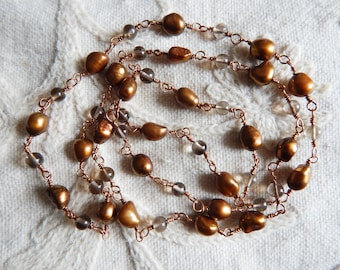 Smoky Quartz and Bronze Freshwater Pearl Art Deco Style Solid Bronze Wire Link Necklace
