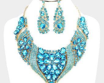 Aqua Crystal Bib Statement Necklace and Earrings