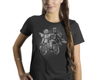 Yoda Shirt -Womens Star Wars Shirt -Darth Vader and Yoda Riding a Bike Hand Screen printed on a Womens t-shirt -Star Wars Shirt - Yoda Shirt