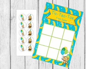 Birthday Tic-Tac-Toe Game with Candy Stickers Birthday Party Birthday Favor Monkey Personalized Qty 8 TTT3