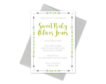 Baby Shower Invitation- Green and Grey Arrows