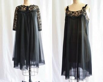 "1960s Peignoir Set   Gossard Artemis   Vintage 60s Black Nylon Floaty Robe with Matching Nightgown 60s Lingerie Boudoir 2 Piece Set Bust 38"""
