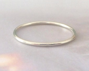 9ct White Gold Skinny Ring - Smooth Polished Finish
