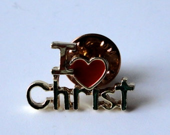 Vintage Christian Lapel Pin  I Heart (Love) Christ