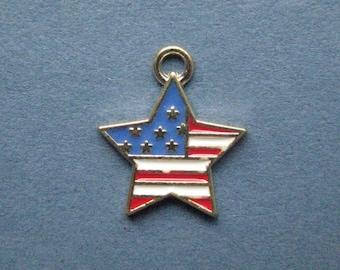 5 American Flag Charms - American Flag Pendants - American Flag - Flag Charm - Flag Star Charm - Enamel Charm -  18mm x 15mm  -(J2-12008)