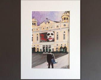 THE JOKER wall art - giclee print of 'I Started A Joke' painting by Stephen Mahoney - superhero artwork of Joker and Liverpool Playhouse