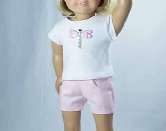 SHORTS in Pink with White TEE with Butterfly Applique and Sandals Option for American Girl or 18 Inch Doll
