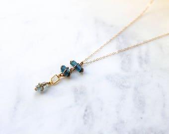 Blue Tourmaline + Moonstone + Aquamarine Necklace