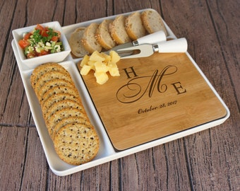 Personalized Ceramic Serving Platter with Nested Bamboo Cutting Board, Ceramic Bowl, and Cheese Tools with Monogram Options (Each)