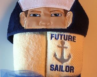 Sailor Hooded Towel, Kids Bath Towel, Navy Hooded Towel